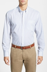 Cutter And Buck 'Epic Easy Care' Classic Fit Vertical Pinstripe Wrinkle Resistant Sport Shirt White French Blue