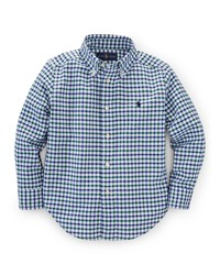 Ralph Lauren Childrenswear Blake Gingham Oxford Shirt Size 2T 7 Blue