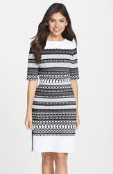 Julia Jordan Geometric Pattern Knit Sheath Dress Black White