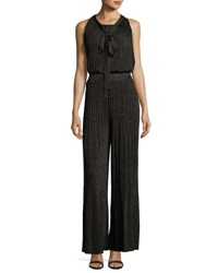 M Missoni Lurex Plisse Crisscross Back Wide Leg Jumpsuit Black
