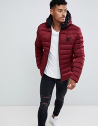 Sik Silk Siksilk Puffer Jacket With Hood In Burgundy Red