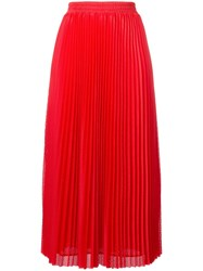 Red Valentino Long Pleated Mesh Skirt Red