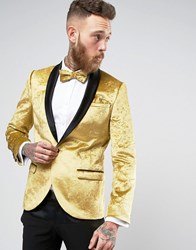 Noose And Monkey Super Skinny Tuxedo Blazer In Crushed Velvet Gold