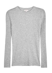 Demy Lee Grey Ribbed Fine Knit Wool Jumper