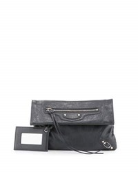 Balenciaga Classic Nickel Mini Envelope Crossbody Bag Gray Medium