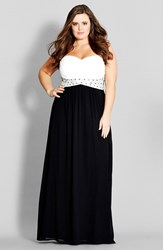 Plus Size Women's City Chic 'Contrast Camilla' Embellished Strapless Maxi Dress Black