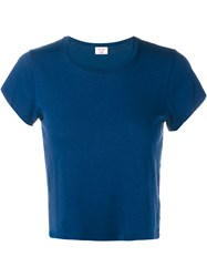 Re Done Hanes Boxy Cropped Short Sleeve T Shirt Navy Denim