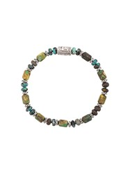 John Hardy Silver Classic Chain Mixed Turquoise Bead Bracelet Green