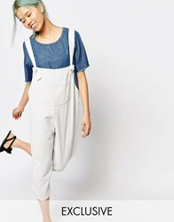 Zacro Oversized Dungaree Jumpsuit With Front Pocket In Corduroy White