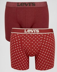 Levi's Boxer Brief In 2 Pack Red Star Print Red