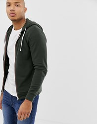 Blend Of America Pique Zip Through Hoodie With Striped Taping Green
