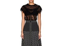 Ulla Johnson Bisou Embroidered Tulle Top Black