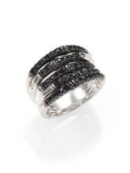 John Hardy Bamboo Black Sapphire And Sterling Silver Multi Band Ring