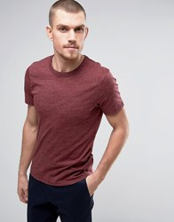 Selected Homme Crew Neck T Shirt In Marl Burgundy Red