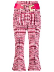 Elisabetta Franchi Cropped Flared Trousers Pink