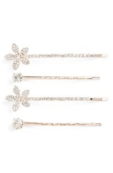 Cara 4 Pack Crystal Flower Bobby Pins