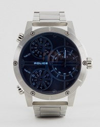 Police 14699Js 02M Multi Functional Blue Dial Stainless Steel Watch Silver