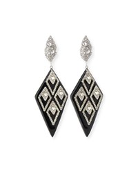 Alexis Bittar Spiked Lattice Crystal Drop Earrings Black