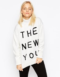 Wood Wood Amy Slogan Jumper White