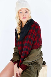 Wooden Ships Buffalo Plaid Sweater Poncho Red Multi