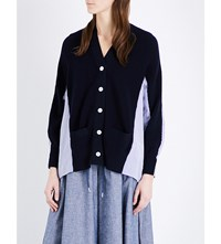 Sacai Contrast Back Knitted And Woven Cardigan Navy X Stripe