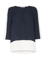 Linea Colour Block Blouse Navy