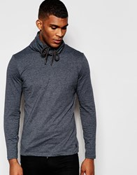 Blend Of America Blend Long Sleeve Top Drawstring Funnel Neck Grey