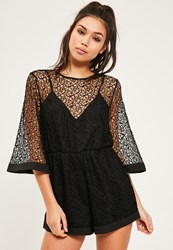 Missguided Black Kimono Sleeve Lace Playsuit