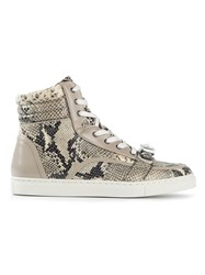 Markus Lupfer Snakeskin Effect Hi Top Sneakers Nude And Neutrals
