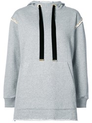 Mother Of Pearl Gold Chain Detail Hoodie Cotton Grey