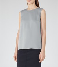 Reiss Alicia Womens Button Back Tank Top In Green