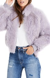 Madewell Genuine Shearling Mongolian Coat Violet Tint