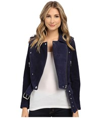 Blank Nyc Blue Suede Moto Jacket In Deep Blue Navy Deep Blue Navy Women's Coat