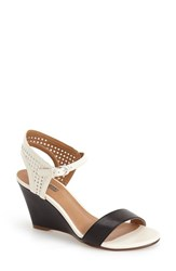Women's Halogen 'Helen' Perforated Leather Ankle Strap Wedge Sandal Black White Combo