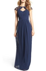 Hayley Paige Occasions Women's Cap Sleeve Lace And Chiffon Gown Navy