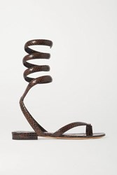 Bottega Veneta Snake Effect Leather Sandals Brown