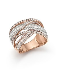 Bloomingdale's Diamond Crossover Ring In 14K Yellow White And Rose Gold 2.70 Ct. T.W. White Rose