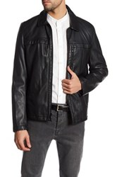 Kenneth Cole Full Zip Faux Leather Jacket Black