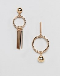 French Connection Missmatch Hoop Earrings Gold