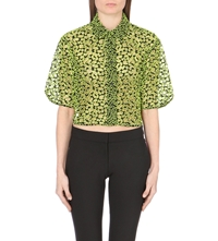 Christopher Kane Cropped Broderie Cut Out Shirt Black Neon Yellow