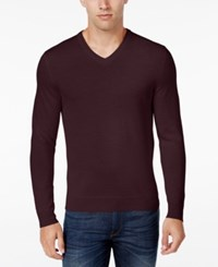 Club Room Men's Merino Blend V Neck Sweater Only At Macy's Red Plum