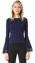 Milly Cutout Flare Sleeve Pullover Navy