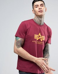 Alpha Industries Logo T Shirt Regular Fit In Burgundy Burgundy Red