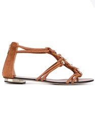Le Silla Embellished Sandals Women Leather Suede 41 Brown