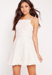 Missguided Square Neck Lace Skater Dress Nude White