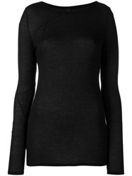 Barbara I Gongini Longsleeve T Shirt Women Silk Modal 40 Black