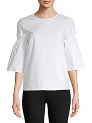 Saks Fifth Avenue Bell Sleeve Poplin Blouse White