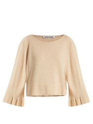 Elizabeth And James Freja Fluted Bell Sleeved Knit Sweater Beige