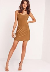 Missguided Strappy Slinky Skater Dress Brown Copper