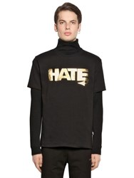 Love Moschino Hate And Printed Jersey T Shirt